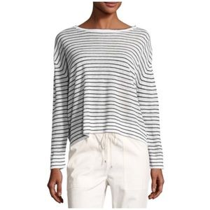 Theory • trinella striped linen top black/white